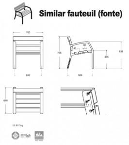 Fauteuil fonte bois schema